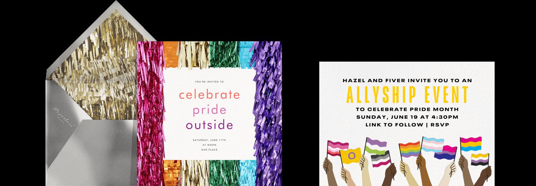 Pride party invitations